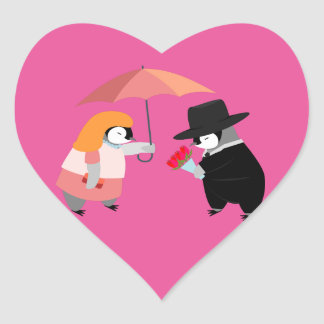 Propose Penguin Heart Sticker
