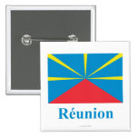 Proposed Reunion Island Flag with Name in French 2 Inch Square Button