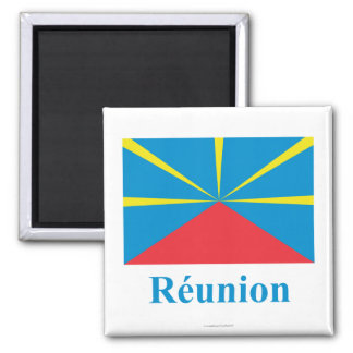 Proposed Reunion Island Flag with Name in French 2 Inch Square Magnet