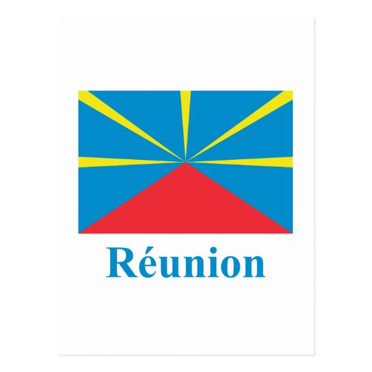 Proposed Reunion Island Flag with Name in French Postcard