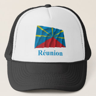 Proposed Reunion Island Waving Flag Name in French Trucker Hat