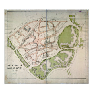 Proposed Street Plan for West Fenway, Boston MA Print