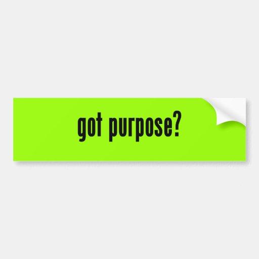 ¿propósito conseguido? etiqueta de parachoque