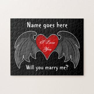 Propuesta de matrimonio coa alas rojo oscuro puzzle