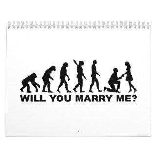 Propuesta de matrimonio del boda de la evolución calendario de pared