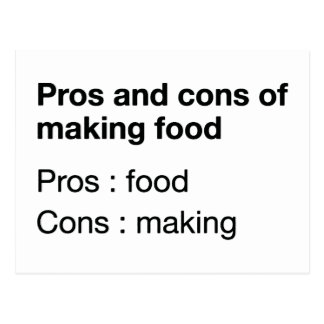 Pros And Cons Of Making Food Postcard