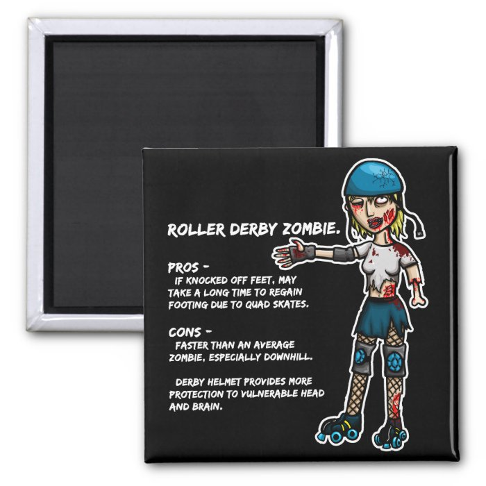 Pros and Cons Roller Derby Zombie 2 Inch Square Magnet