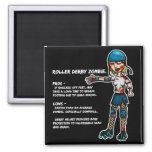 Pros and Cons Roller Derby Zombie Fridge Magnets
