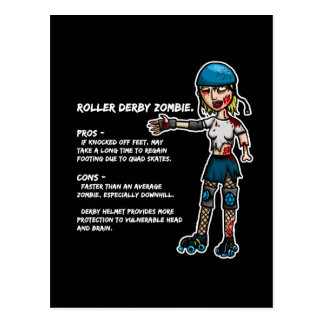 Pros and Cons Roller Derby Zombie Postcard