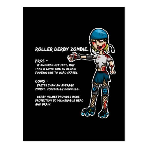 Pros and Cons Roller Derby Zombie Postcards