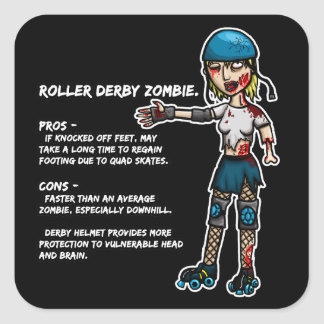Pros and Cons Roller Derby Zombie Square Sticker