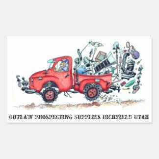 Proscrito prospectando al pegatina del camión de