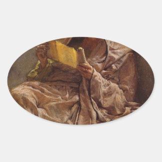 Prose by Sir Lawrence Alma-Tadema Oval Sticker