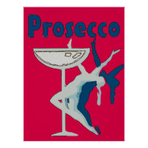 Prosecco Dancer in Red Poster