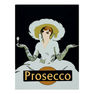 Prosecco, Vintage Style Lady, Sign