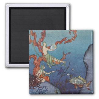 Proserpina y las ninfas de mar imán cuadrado