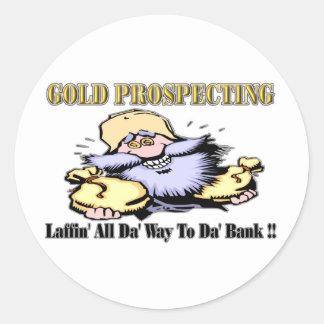 Prospección del oro pegatina redonda