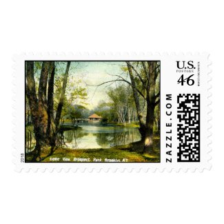 Prospect Park, Brooklyn NY, 1908 Vintage stamp