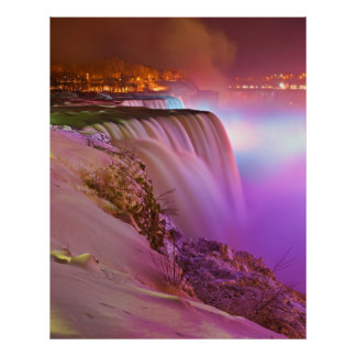 Prospect Point Night View of Niagara Falls Winter Poster