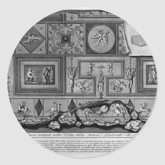 Prospecto de Juan Piranesi- y perfil de la tumba Etiquetas Redondas