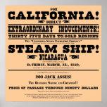 Prospecto de la fiebre del oro de California Poster