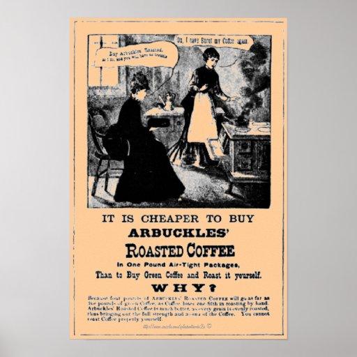 Prospecto del vintage para el bea asado del café d póster