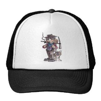 Prospector con el perro gorro de camionero