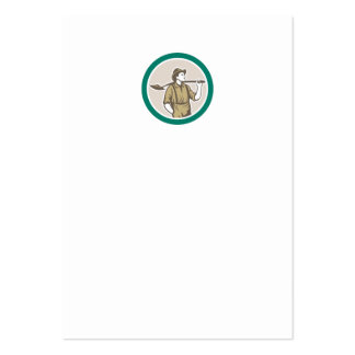 Prospector Miner With Shovel Circle Retro Business Card Templates