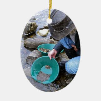 Prospectors Gold Panning Mug Ceramic Ornament