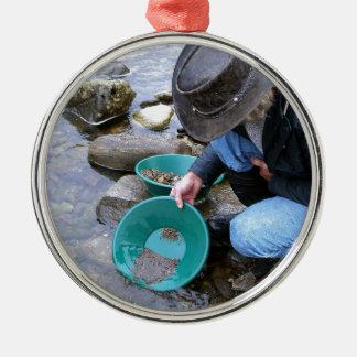 Prospectors Gold Panning Mug Metal Ornament