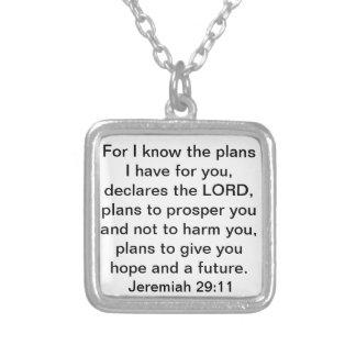 Prosper Jeremiah 29:11 bible verse Square Pendant Necklace