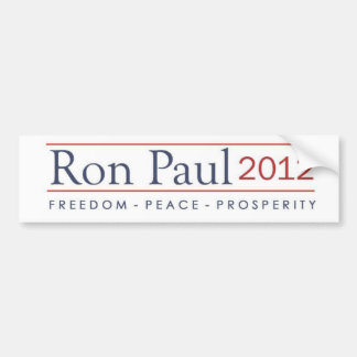 Prosperidad 2012 de la paz de la libertad de Ron P Pegatina De Parachoque