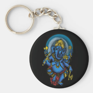 Prosperidad de Ganesh Llavero Redondo Tipo Pin