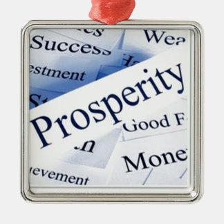 Prosperidad Adorno Cuadrado Plateado