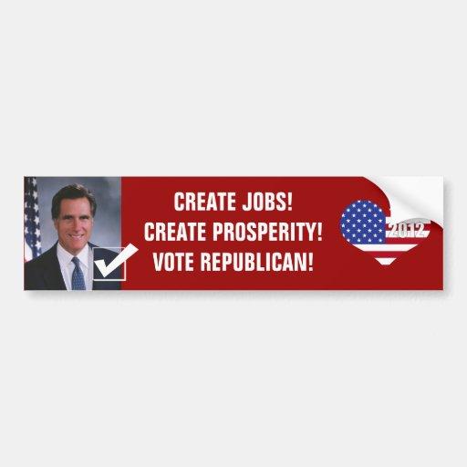 ¡Prosperidad republicana 2012-Create del voto! Etiqueta De Parachoque