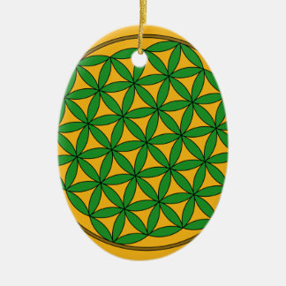 Prosperity9 Double-Sided Oval Ceramic Christmas Ornament