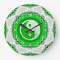 Prosperity Green YinYang FengShui Home Decor Clock