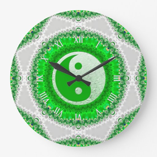 Prosperity Green YinYang FengShui Home Decor Clock