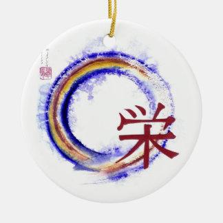 Prosperity, Sumi-e Enso in color Ceramic Ornament