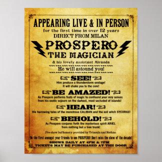 "¡Prospero! Mago Playbill 8 el 1/2"" x 11"" Póster"
