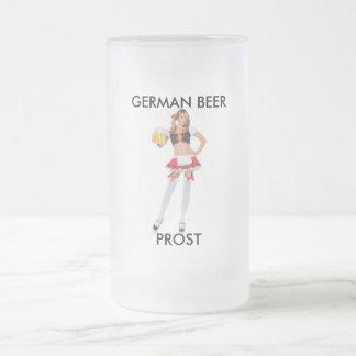 PROST, GERMAN BEER FROSTED GLASS BEER MUG