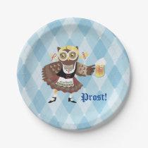 Prost! Oktoberfest owl Paper Plate