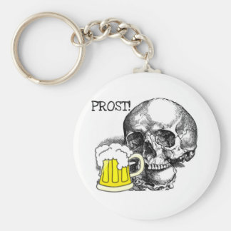 PROST! SKULL WITH BEER STEIN PRINT KEYCHAIN