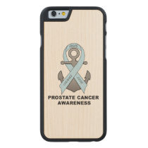 Prostate Cancer Anchor of Hope Carved Maple iPhone 6 Slim Case