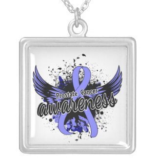Prostate Cancer Awareness 16 Square Pendant Necklace