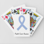 "Prostate Cancer Awareness Bicycle Playing Cards<br><div class=""desc"">Prostate cancer awareness items featuring light blue ribbon associated with prostate cancer.</div>"