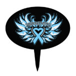 Prostate Cancer Awareness Heart Wings.png Oval Cake Pick