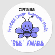 Prostate Cancer Awareness Month Bee 1.2 Classic Round Sticker
