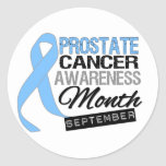Prostate Cancer Awareness Month Draped Ribbon Round Stickers