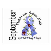 Prostate Cancer Awareness Month Flower Ribbon 1 Postcard